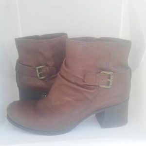 Leather Slouchy Buckle Ankle Bootie 8 1/2 WW Ruby